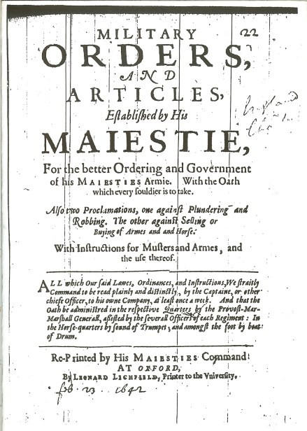 Image for MILITARY ORDERS AND ARTICLES ESTABLISHED BY HIS MAJESTIE (1642)