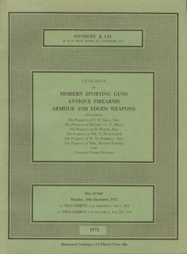 Image for CATALOGUE OF MODERN SPORTING GUNS, ANTIQUE FIREARMS, ARMOUR AND EDGED WEAPONS: MONDAY 18TH DECEMBER 1972