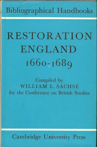 Image for BIBLIOGRAPHICAL HANDBOOKS: RESTORATION ENGLAND 1660-1689