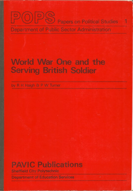 Image for WORLD WAR ONE AND THE SERVING BRITISH SOLDIER