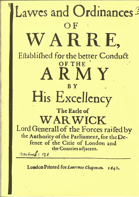 Image for LAWES AND ORDINANCES OF WARRE...EARLE OF WARWICK 1642