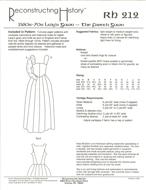 Image for RH212: 1560S-1570S LADY'S OVERGOWN - THE FRENCH GOWN