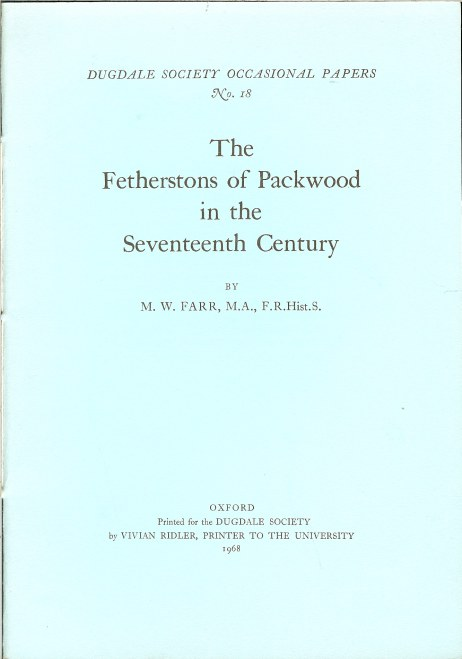Image for THE FETHERSTONS OF PACKWOOD IN THE SEVENTEENTH CENTURY