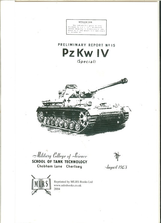 Image for PZKW IV (SPECIAL) : PRELIMINARY REPORT NO. 15