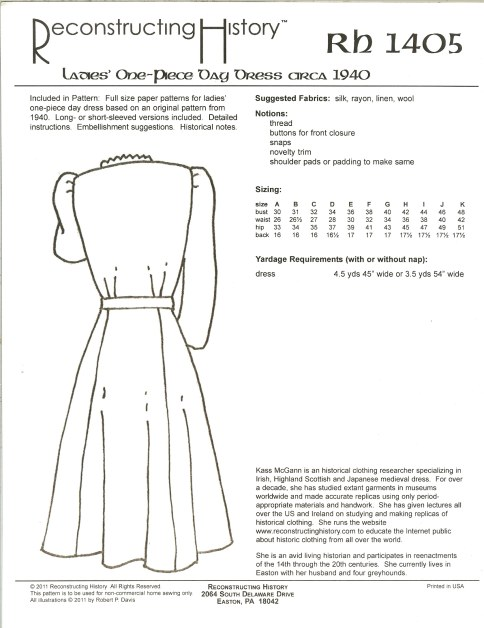 Image for RH1405: LADIES' ONE-PIECE DAY DRESS CIRCA 1940