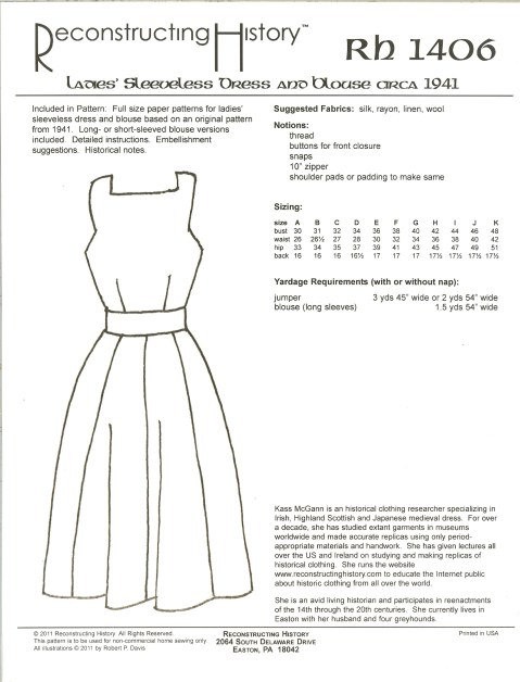 Image for RH1406: LADIES' SLEEVELESS DRESS AND BLOUSE CIRCA 1941