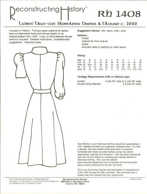 Image for RH1408: LADIES' BIAS SLEEVELESS DRESS AND BLOUSE CIRCA 1942