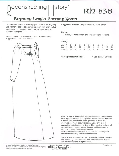 Image for RH838: REGENCY LADY'S EVENING DRESS