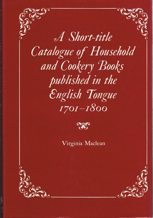 Image for A SHORT-TITLE CATALOGUE OF HOUSEHOLD AND COOKERY BOOKS 1701-1800