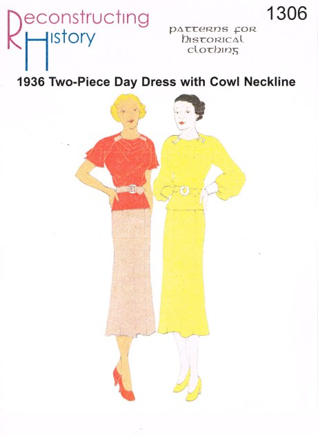 Image for RH1306: 1936 2-PIECE DAY DRESS WITH COWL-NECK