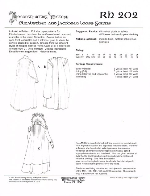 Image for RH202: ELIZABETHAN AND JACOBEAN LOOSE GOWNS