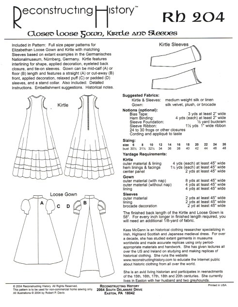 Image for RH204: CLOSED LOOSE GOWN, KIRTLE AND SLEEVES