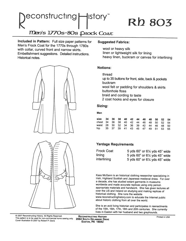Image for RH803: 1780S FROCK COAT