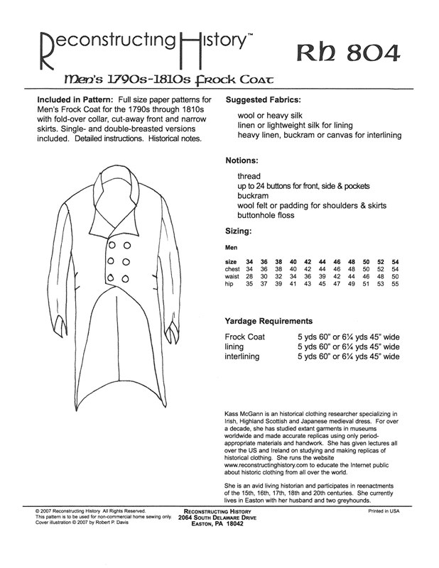 Image for RH804: 1790S - 1800S FROCK COAT