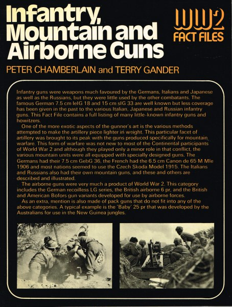 Image for WW2 FACT FILES: INFANTRY, MOUNTAIN AND AIRBORNE GUNS