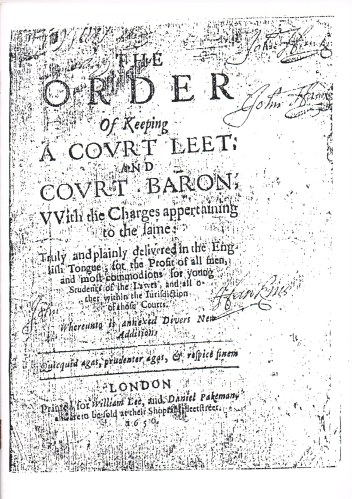 Image for THE ORDER OF KEEPING A COURT LEET AND COURT BARON (1650)