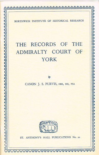 Image for RECORDS OF THE ADMIRALTY COURT OF YORK