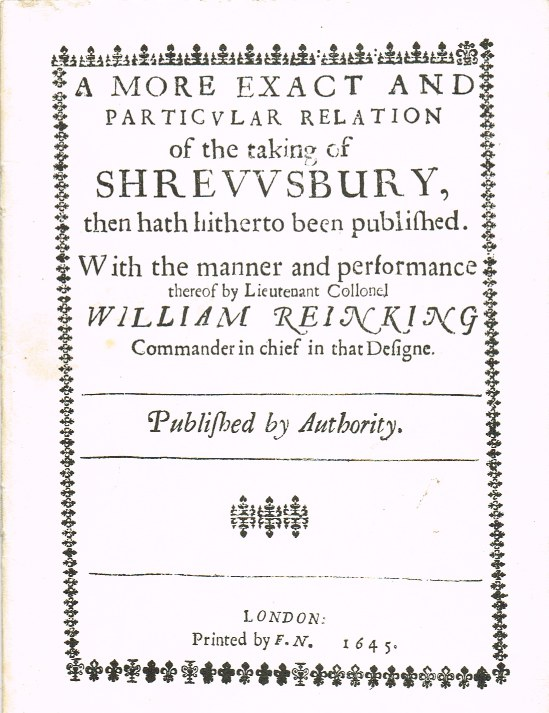 Image for A MORE EXACT AND PARTICULAR RELATION OF THE TAKING OF SHREWSBURY (1645)