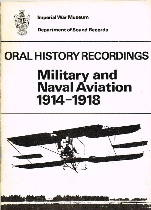Image for ORAL HISTORY RECORDINGS: MILITARY AND NAVAL AVIATION 1914-1918