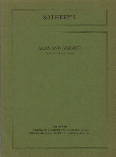 Image for ARMS AND ARMOUR: THE PROPERTY OF VARIOUS OWNERS : TUESDAY 1ST NOVEMBER 1983