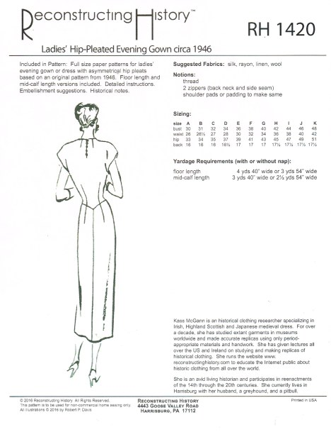 Image for RH1420: LADIES' HIP-PLEATED EVENING GOWN CIRCA 1946