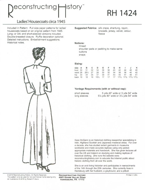 Image for RH1424: LADIES' HOUSECOATS CIRCA 1945