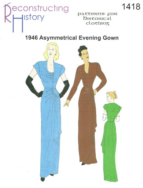 Image for RH1418: LADIES' ASYMMETRICAL EVENING GOWN CIRCA 1946