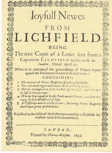 Image for JOYFULL NEWES FROM LICHFIELD (1643)