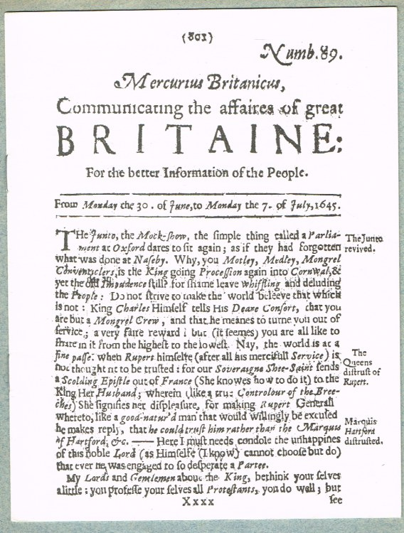 Image for MERCURIUS BRITANICUS, COMMUNICATING THE AFFAIRES OF GREAT BRITAINE NUMBER 89 : FROM MONDAY THE 30 OF JUNE, TO MONDAY THE 7 OF JULY, 1645