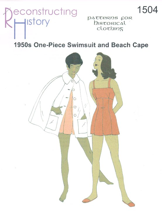 Image for RH1504: LADIES' MID-1950S ONE-PIECE SWIMSUIT AND BEACH CAPE