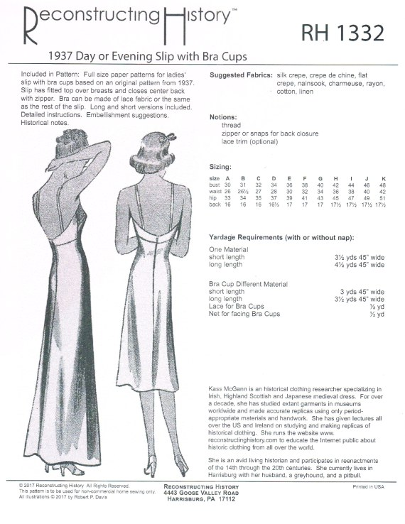 Image for RH1332: 1937 DAY OR EVENING SLIP WITH BRA CUPS