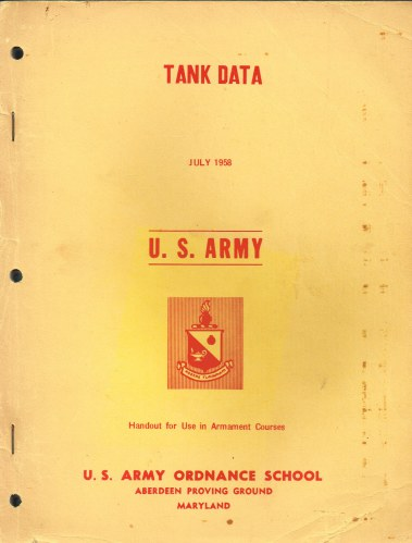 Image for TANK DATA JULY 1958 US ARMY