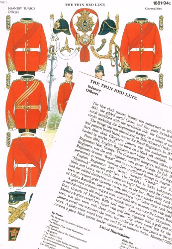 Image for THE THIN RED LINE PLATE 1 : INFANTRY TUNICS OFFICERS 1881-1894: GENERALITIES