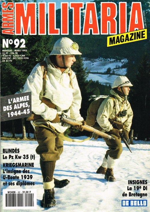 Image for ARMES MILITARIA MAGAZINE NO. 92 (FRENCH TEXT)
