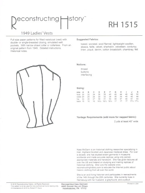 Image for RH1515: 1949 LADIES' SINGLE AND DOUBLE-BREASTED VESTS