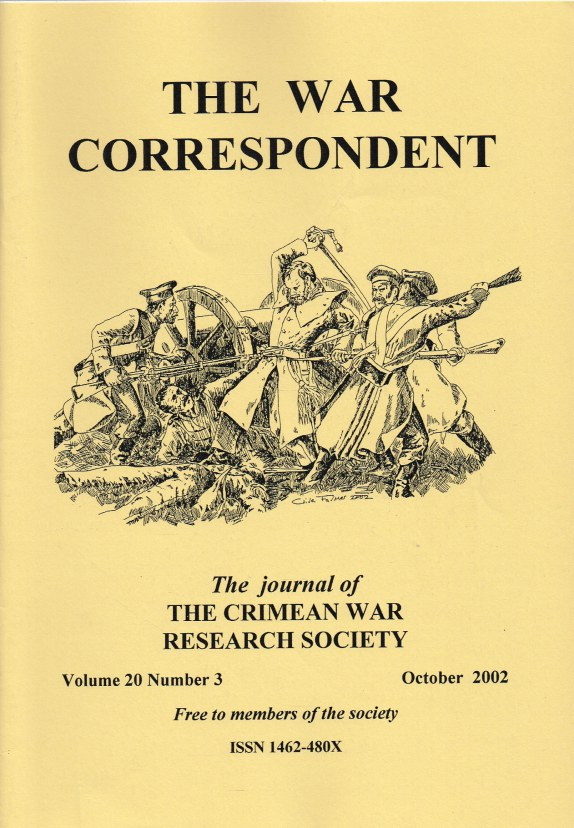 Image for THE WAR CORRESPONDENT: THE JOURNAL OF THE CRIMEAN WAR RESEARCH SOCIETY : VOLUME 20, NUMBER 3 OCTOBER 2002