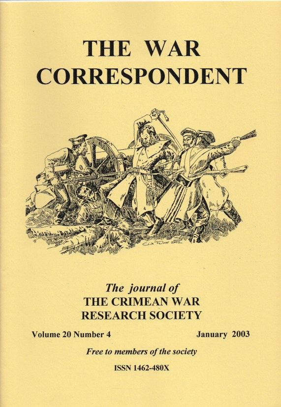 Image for THE WAR CORRESPONDENT: THE JOURNAL OF THE CRIMEAN WAR RESEARCH SOCIETY : VOLUME 20, NUMBER 4 JANUARY 2003
