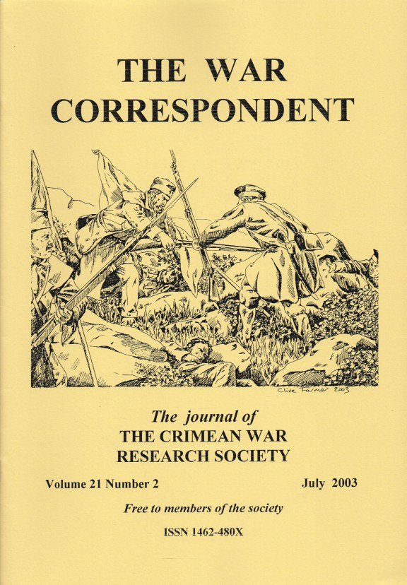 Image for THE WAR CORRESPONDENT: THE JOURNAL OF THE CRIMEAN WAR RESEARCH SOCIETY : VOLUME 21, NUMBER 2 JULY 2003