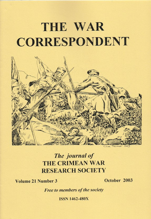 Image for THE WAR CORRESPONDENT: THE JOURNAL OF THE CRIMEAN WAR RESEARCH SOCIETY : VOLUME 21, NUMBER 3 OCTOBER 2003