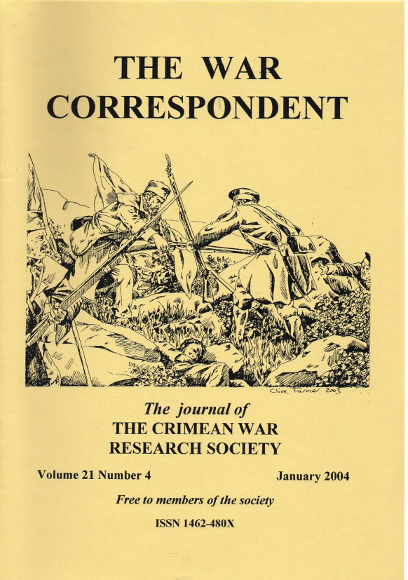 Image for THE WAR CORRESPONDENT: THE JOURNAL OF THE CRIMEAN WAR RESEARCH SOCIETY : VOLUME 21, NUMBER 4 JANUARY 2004