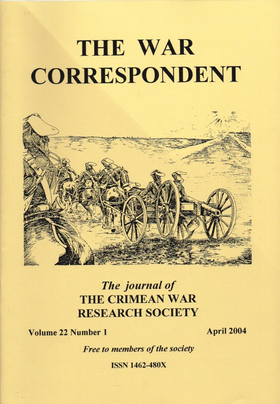 Image for THE WAR CORRESPONDENT: THE JOURNAL OF THE CRIMEAN WAR RESEARCH SOCIETY : VOLUME 22, NUMBER 1 APRIL 2004