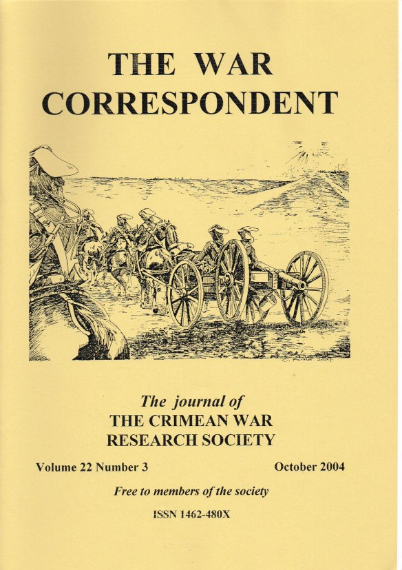 Image for THE WAR CORRESPONDENT: THE JOURNAL OF THE CRIMEAN WAR RESEARCH SOCIETY : VOLUME 22, NUMBER 3 OCTOBER 2004