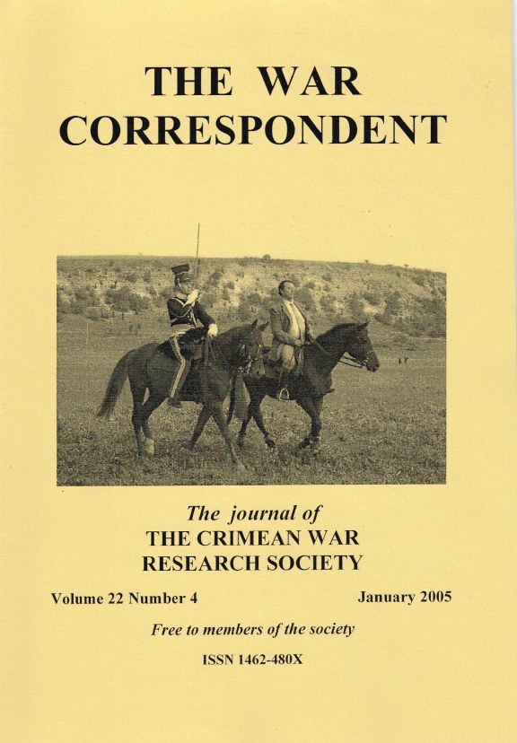 Image for THE WAR CORRESPONDENT: THE JOURNAL OF THE CRIMEAN WAR RESEARCH SOCIETY : VOLUME 22, NUMBER 4 JANUARY 2005
