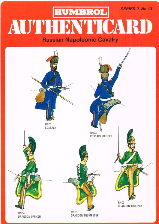 Image for HUMBROL AUTHENTICARD SERIES 2, NO.13: RUSSIAN NAPOLEONIC CAVALRY