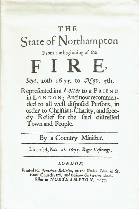 Image for A CONTEMPORARY ACCOUNT OF THE FIRE OF NORTHAMPTON 1675
