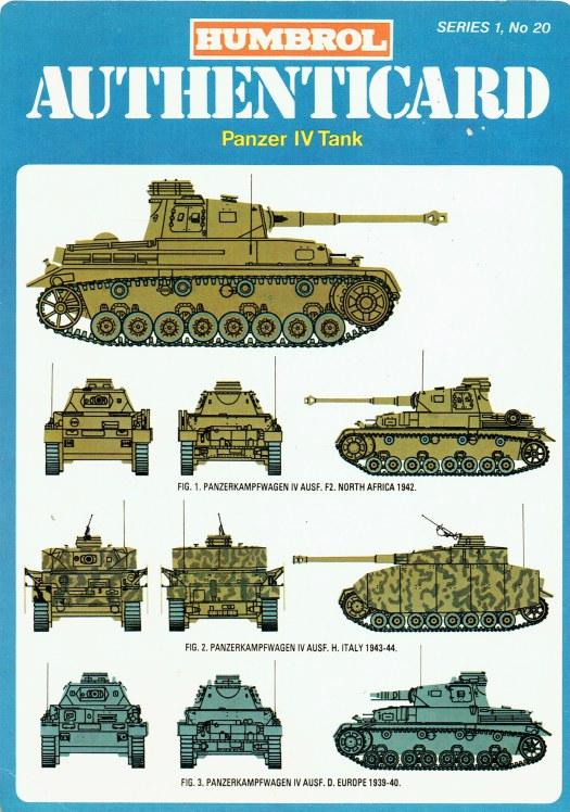Image for HUMBROL AUTHENTICARD SERIES 1, NO.20: PANZER IV TANK