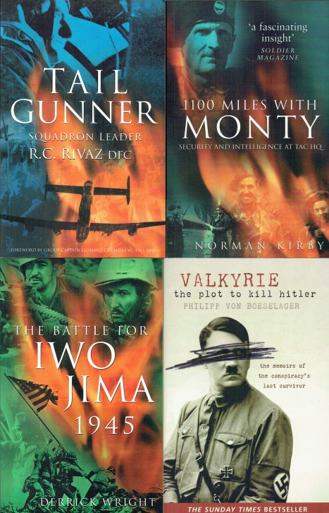 Image for TAIL GUNNER / 1100 MILES WITH MONTY / THE BATTLE FOR IWO JIMA 1945 / VALKYRIE (SET OF 4 PAPERBACK WW2 BOOKS)