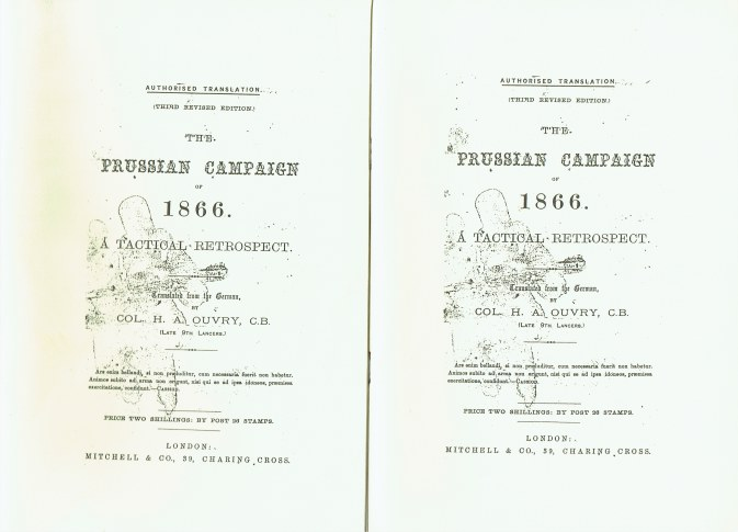 Image for THE PRUSSIAN CAMPAIGN OF 1866 - A TACTICAL RETROSPECTIVE (TWO VOLUME SET)